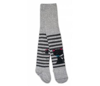 Bavlněné punčocháče - Cat šedé  proužky 3f52daad1e